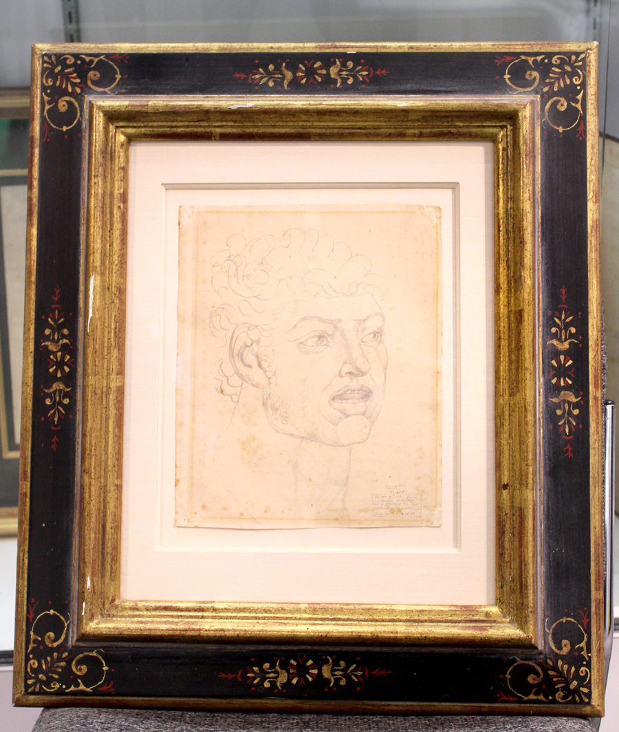 "William Blake seemed to be everywhere at this show, here an 1819 pencil drawing of peasant revolutionary Wat Tyler from the author's famous ""Visionary Heads"" series. Bauman Rare Books, New York City, Las Vegas and Philadelphia"