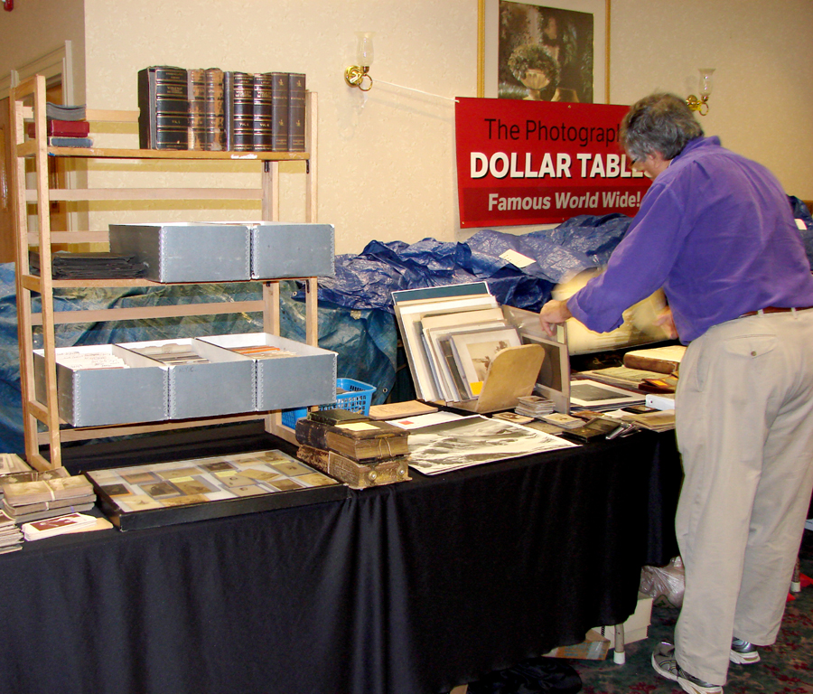 "The ""Dollar Table"" set up by the Photographic Historical Society of New England offered images and accessories that all could afford."