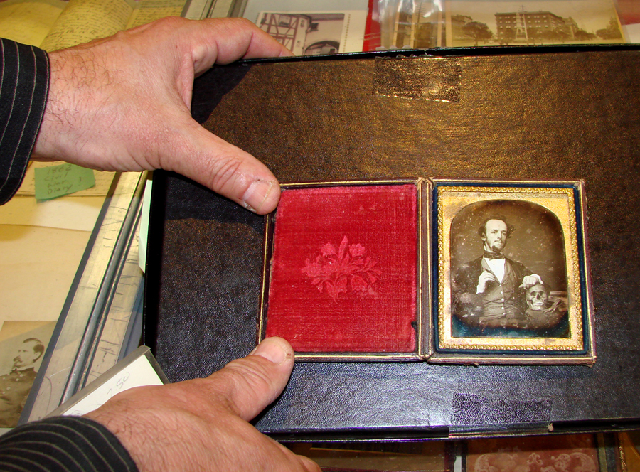 Josh Heller, a Rochester, N.Y., dealer, brought one of the higher priced daguerreotypes. A 1/6th plate, it showed a well-dressed gentleman with one hand resting on a skull. Perhaps a doctor? The price was $ 15,000.