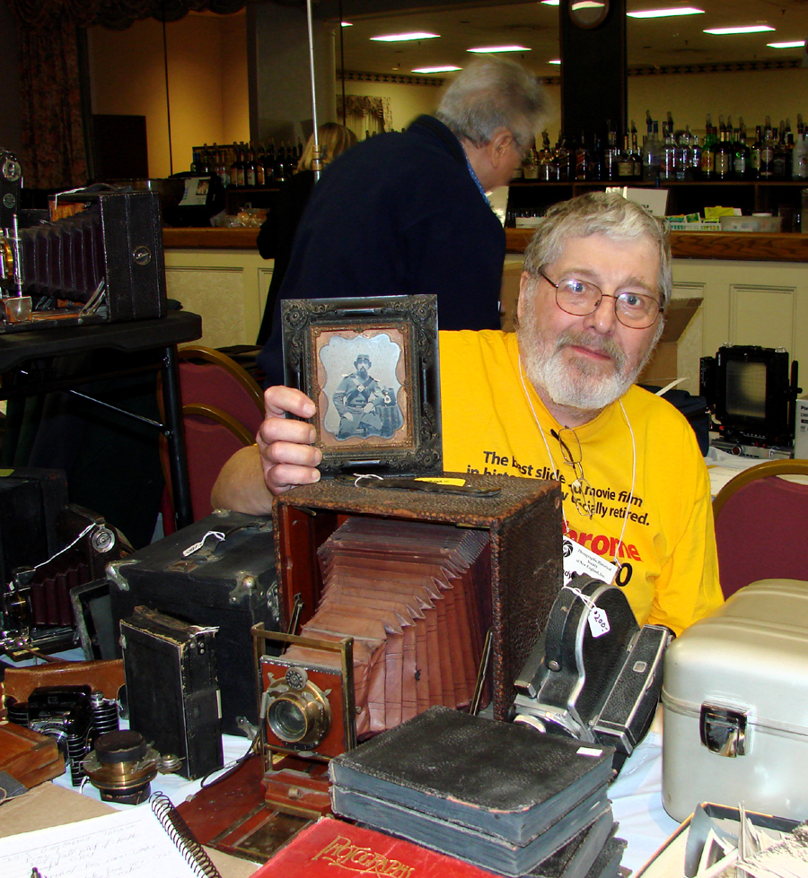 Dealer Andy Heatlie from Rochester, N.H., was offering a half-plate ambrotype<br>of a Civil War-era corporal in a gutta-percha frame for $ 900.