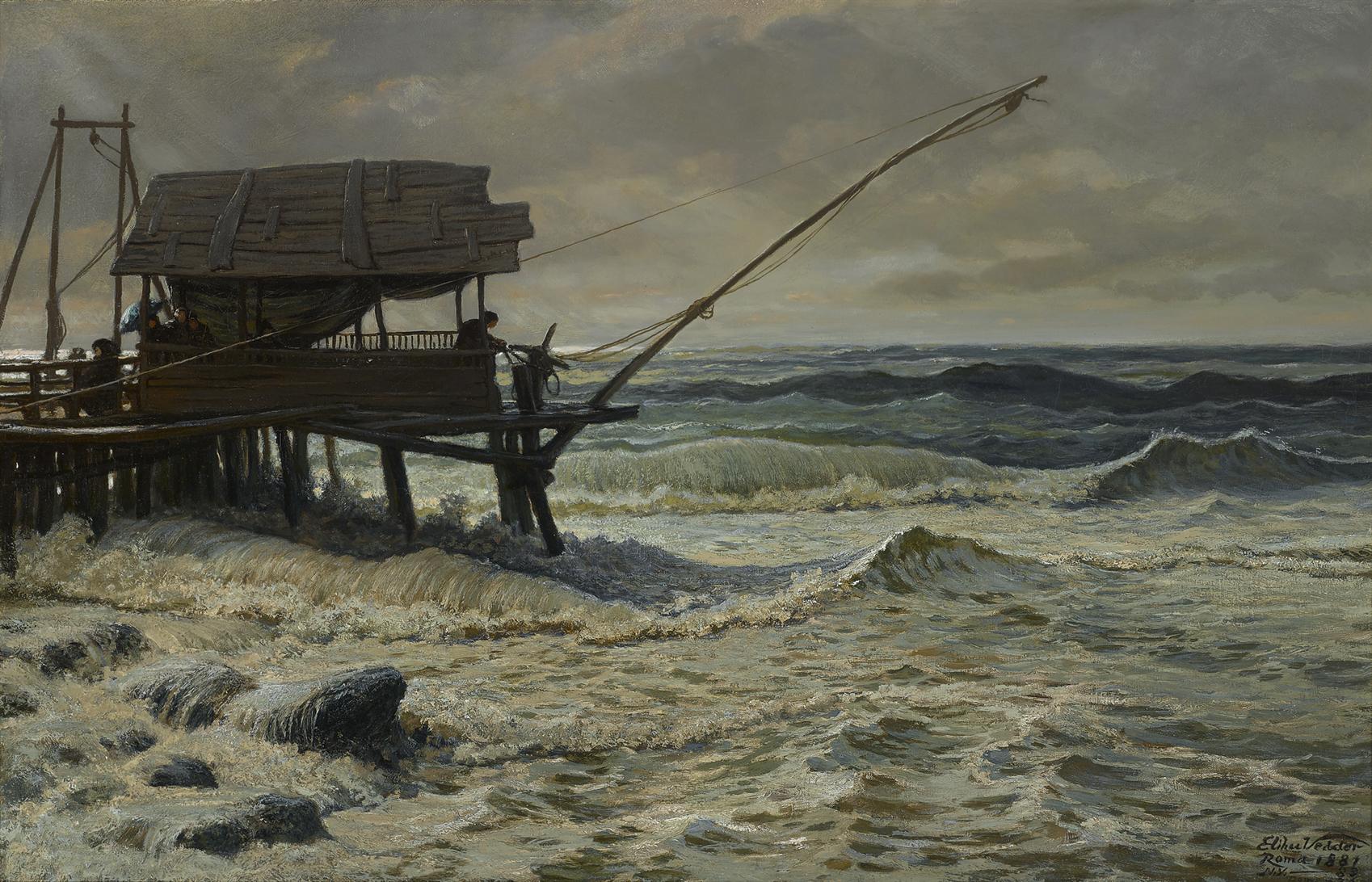 """Elihu Vedder (1836-1923), """"Off Pier Head, Viareggio, Italy"""" was bid to $ 106,250."""