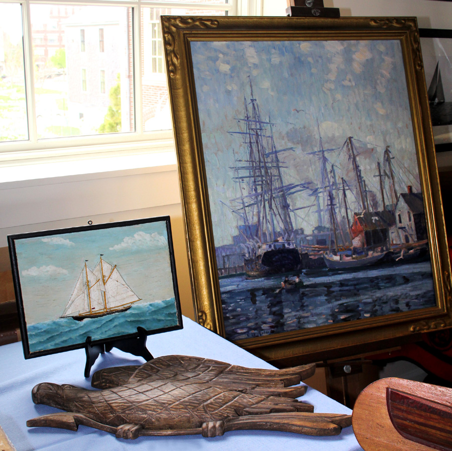 Massachusetts dealer Andrew Jacobson got off to a good start<br>with the sale of the large, Impressionistic view, right, of New Bedford's<br>inner harbor by Clifford W. Ashley (1881–1947), a marine painter and early<br>student of New Bedford's fading whaling industry.