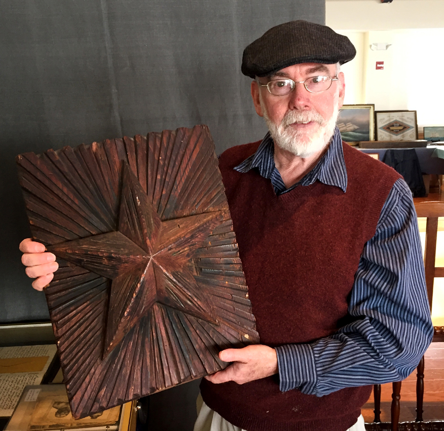 Ryan Cooper said this carved cathead star from the USS <i>Hartford</i> came out<br>of the Charlestown Navy Yard in Massachusetts in the 1880s. It is one of pair of wooden stars that were replaced by bronze caps after the Civil War.