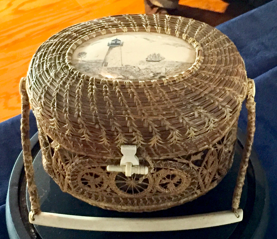 Mattapoisett basket made from pine needles by Gladys Ellis.<br>Hyland Granby Antiques, Hyannis Port, Mass.