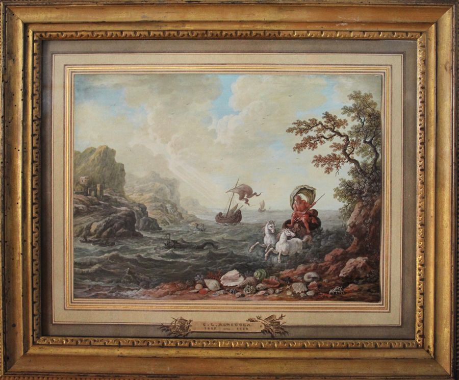 """""""Neptune on His Chariot"""" by German artist Christoph Ludwig Agricola (1667–1719). Hill-Stone Inc, South Dartmouth, Mass."""