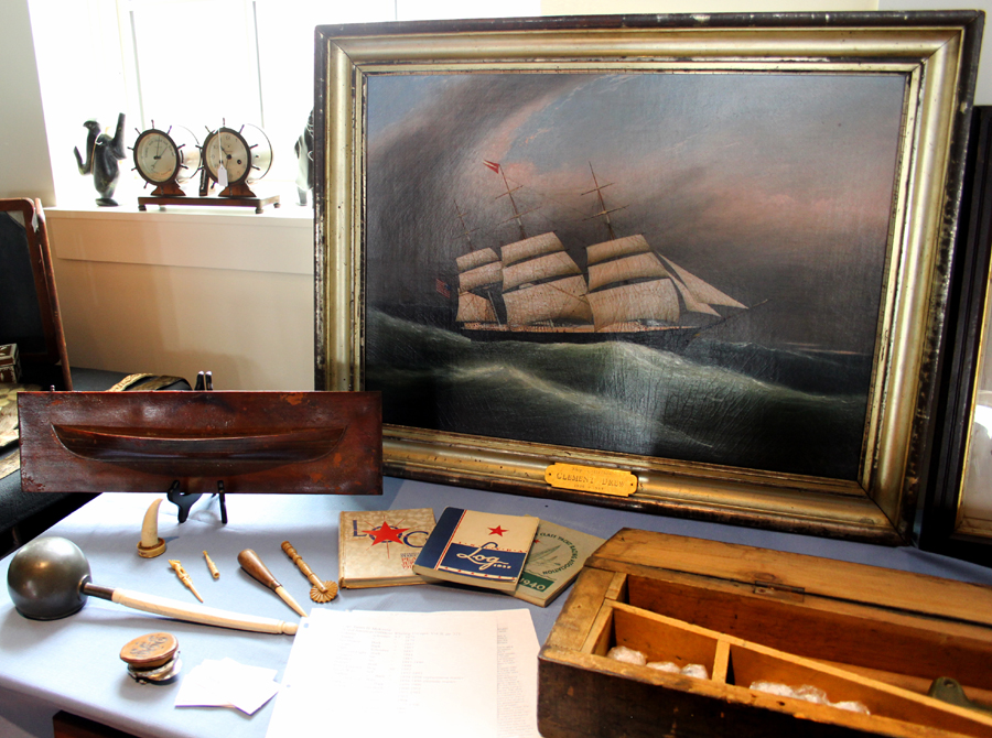 """""""Ship <i>Criterion</i>"""" by Clement Drew (1806–1859), a Massachusetts painter<br>of marine views. Lower right is a rare cased brass shoulder gun manufactured<br>by Ebenezer Pierce or Frank E. Brown, New Bedford, Mass., circa 1900.<br>Andrew Jacobson Marine Antiques, Ipswich, Mass."""