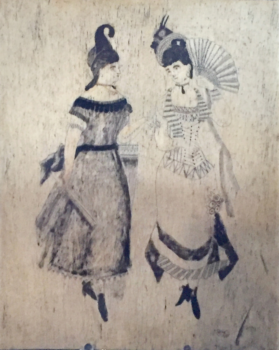 Measuring just over 8 by 6 inches, this panbone plaque of about 1850<br>is engraved with likenesses of two fashionable ladies, most likely copied<br>from <i>Godey's Lady's Book</i>. Nantucket Antiques Depot, Nantucket, Mass.