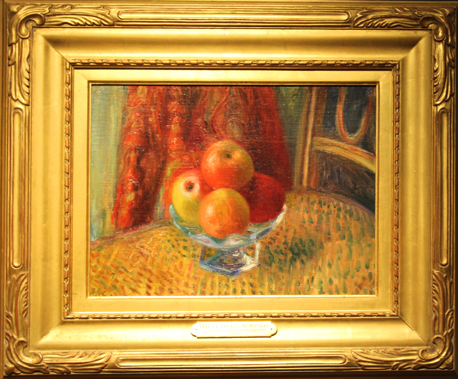 """Apples in a Glass Compote"" by William Glackens, 1930, oil on canvas,<br>12 by 15 inches. William Vareika Fine Arts, Newport, R.I."
