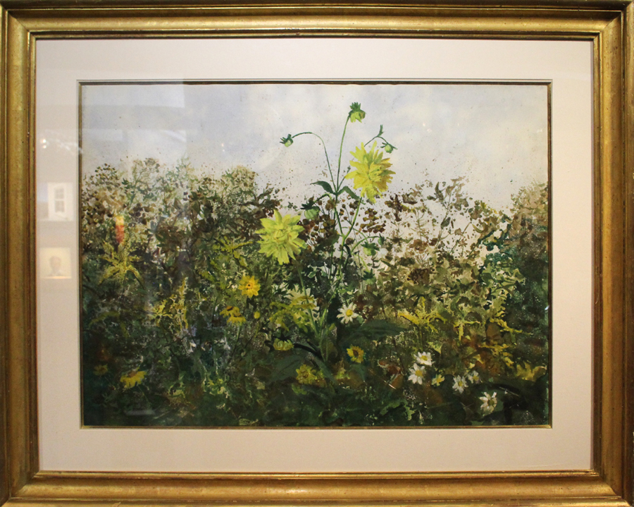 """Yellow Dahlias"" by John W. McCoy (1910-89), Pennsylvania,<br>22 by 30 inches. John Chaski, Camden, Del."