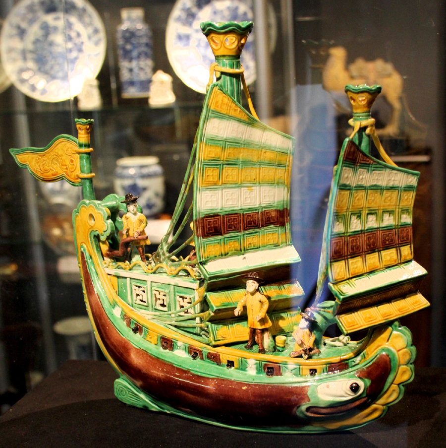 Sancai three-color glazed porcelain ship with Dutch figures, Kangxi period,<br>AD 1662-1722. Ralph M. Chait Galleries, New York City