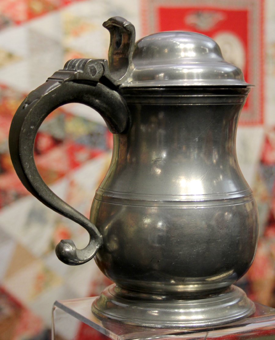 Pewter tulip-shaped tankard  attributed to Johann Philip Alberti, Philadelphia, working 1754-1780. The Herrs, Lancaster, Penn.
