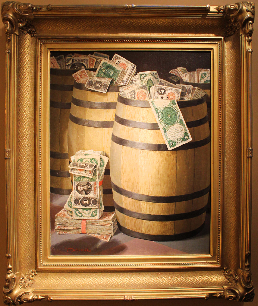 'Bundles of Money' by Victor Dubreuil. Godel & Co., Fine Art, New York City.