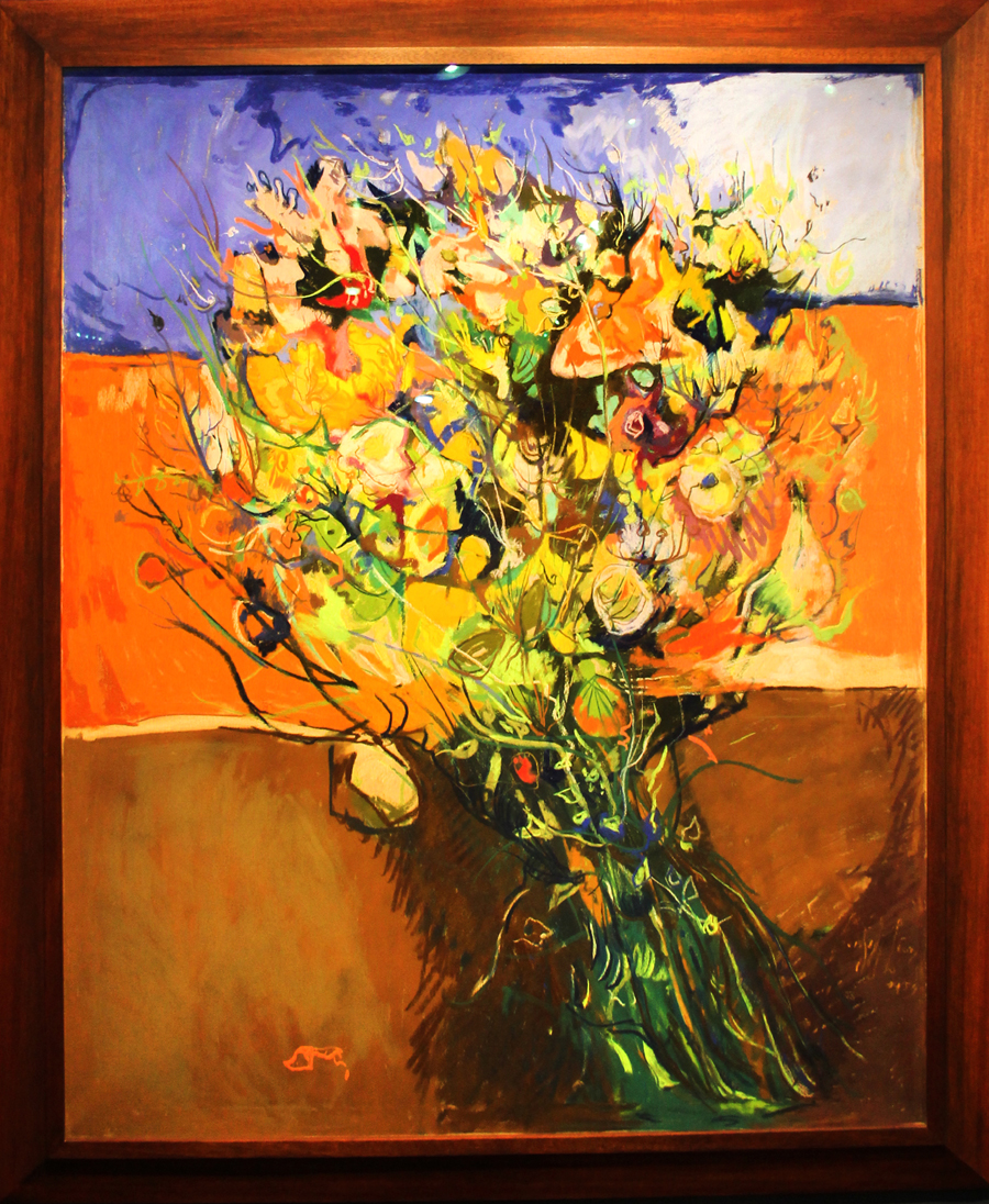 "Leon Kelly's 1950s pastel on canvas ""Imaginary Bouquet"" was a rare Modern offering by the traditionalist Schwarz Gallery of Philadelphia."
