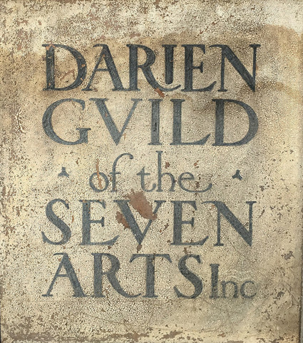 Outside sign for the Darien Guild of the Seven Arts, circa 1928.