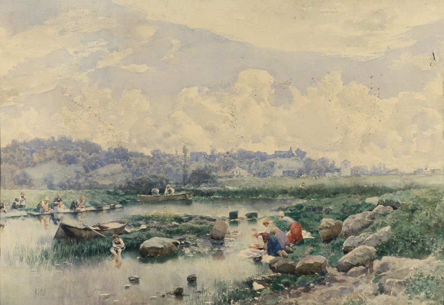 This landscape with washerwomen by a river by Spanish artist Martin Rico y Ortega (1833–1908) went out at $ 6,000. It was a watercolor on paper and measured 13¾ by 19¾ inches.