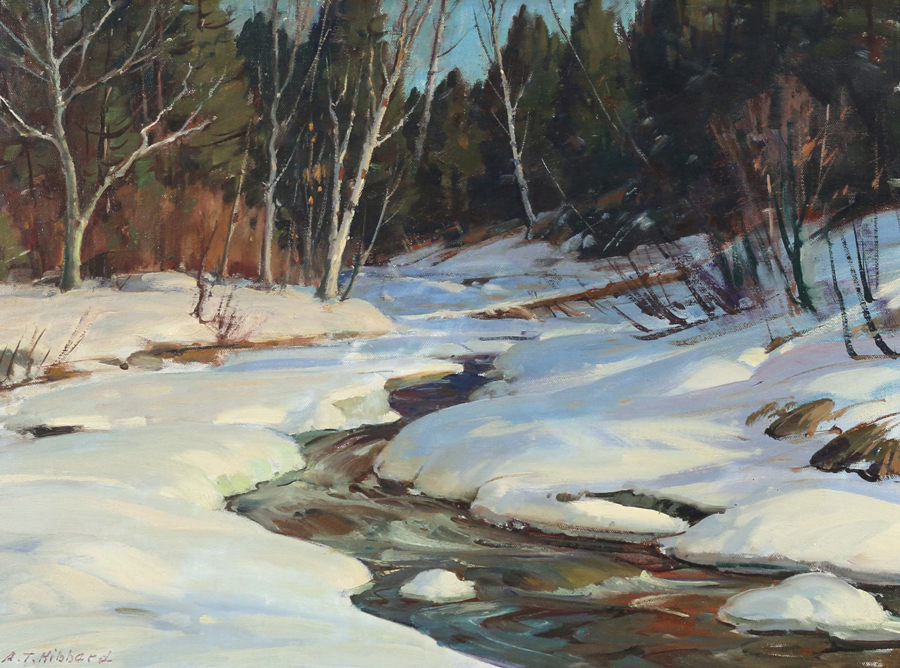 "Fetching $ 5,520 was Aldro T. Hibbard's (American, 1886–1972) oil on board depiction of ""Turkey Mountain Brook — 1950."" Inscribed on verso ""this brook runs into the West River at Jamaica Vermont,"" the 18-by-24-inch painting was signed lower left."
