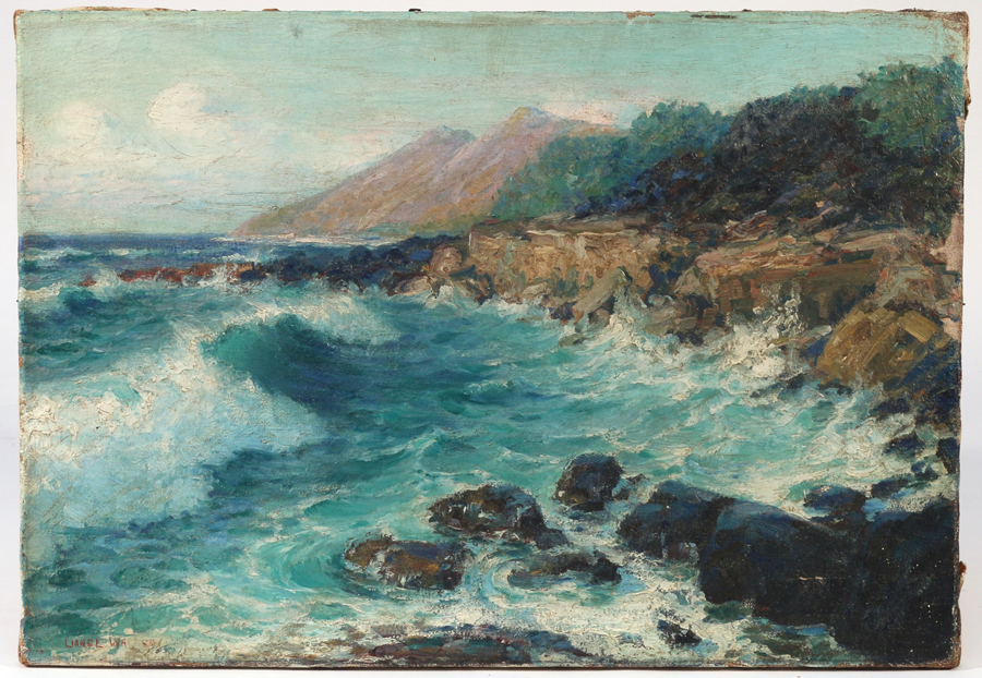 "A rocky beach landscape titled ""Honolulu, Hawaii"" by American artist Lionel Walden (1861–1933) measured 12½ by 18 inches. Signed lower left, it commanded $ 6,600."