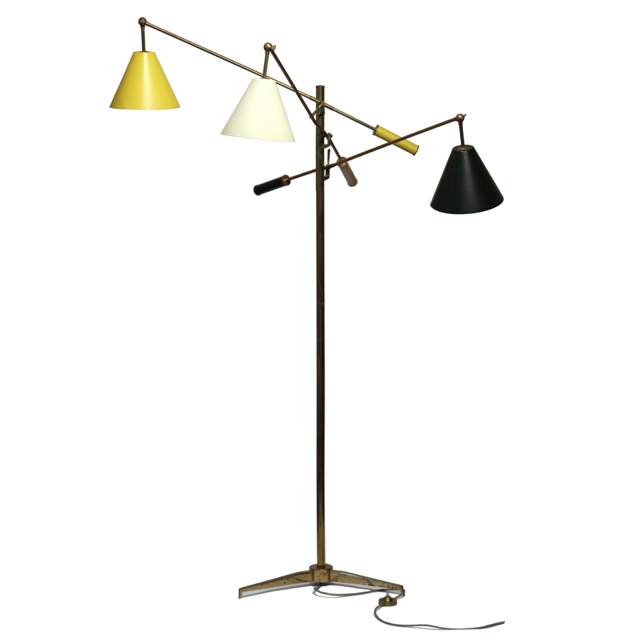 A Gino Sarfatti/Arredoluce Triennale brass floor lamp with three adjustable arms took $ 7,200.