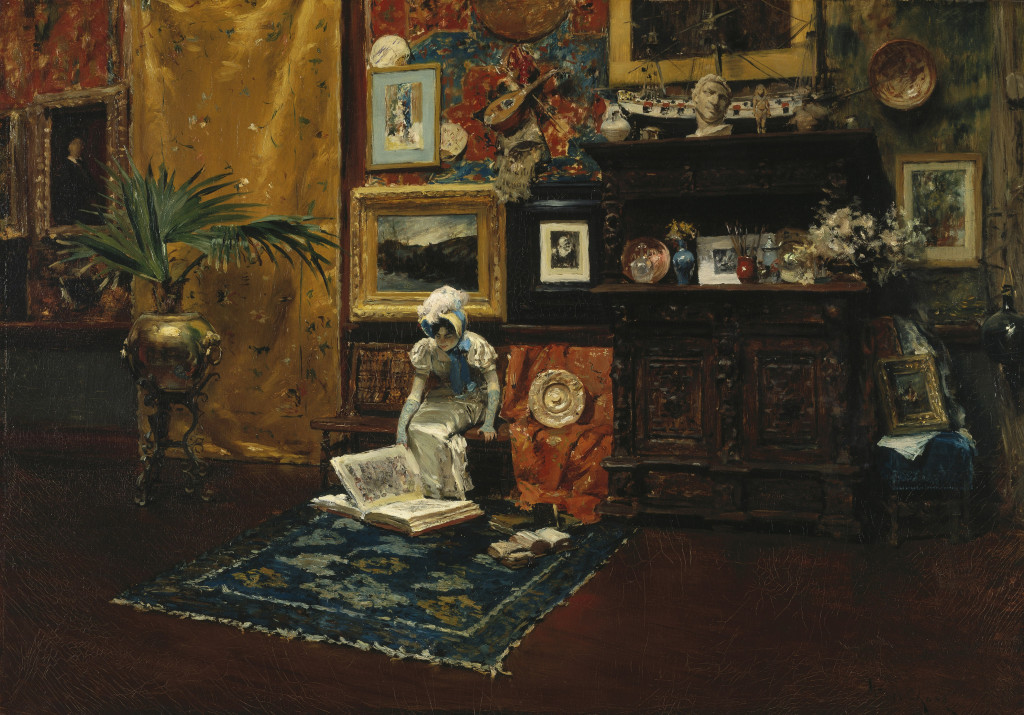 "Chase established his studio, the setting for many of his portraits and interiors, in New York's famed Tenth Street Studio Building in 1878, just after returning from Europe. ""Studio Interior,"" about 1882. Oil on canvas. Brooklyn Museum."