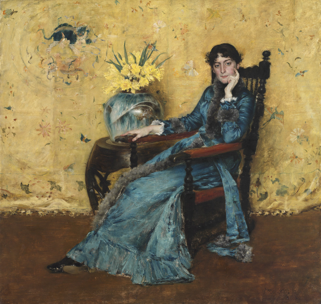 "With its striking color contrasts, this has become one of Chase's most memorable paintings, ""Portrait of Dora Wheeler,"" 1882–83. Oil on canvas. Cleveland Museum of Art."