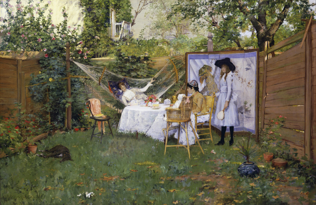 "In the late 1880s, Chase and his young family briefly lived with his in-laws in Brooklyn. Chase was fascinated with the city's impressive parks, as well as its humble backyard gardens, which he rendered in spatially sophisticated compositions. ""The Open Air Breakfast,"" about 1888. Oil on canvas. Toledo Museum of Art."