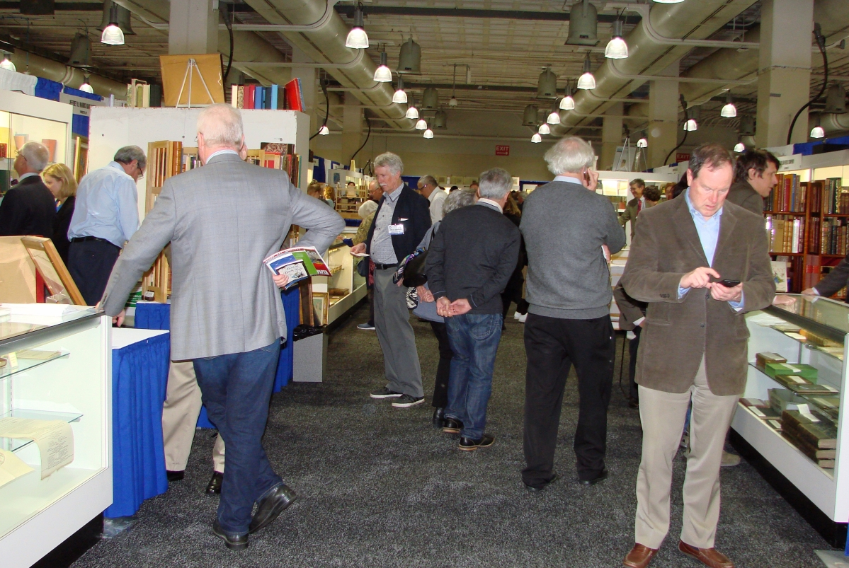 The aisles filled up quickly when the show opened. —Boston International Antiquarian Book Fair