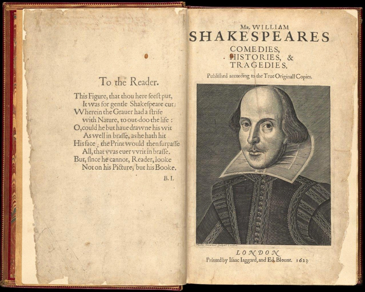 """""""Shakespeare Unauthorized"""" runs at the Copley Square branch of the Boston Public Library through March 31. Dozens of original, and early editions, of works like this rare 1623 volume of Shakespeare's plays, known as the """"First Folio,"""" are on display."""