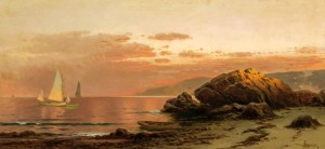 """""""Evening Glow"""" by Alfred Thompson Bricher (1837–1908), oil on canvas, 15 by 32 inches, $60,000 ($50/70,000)."""