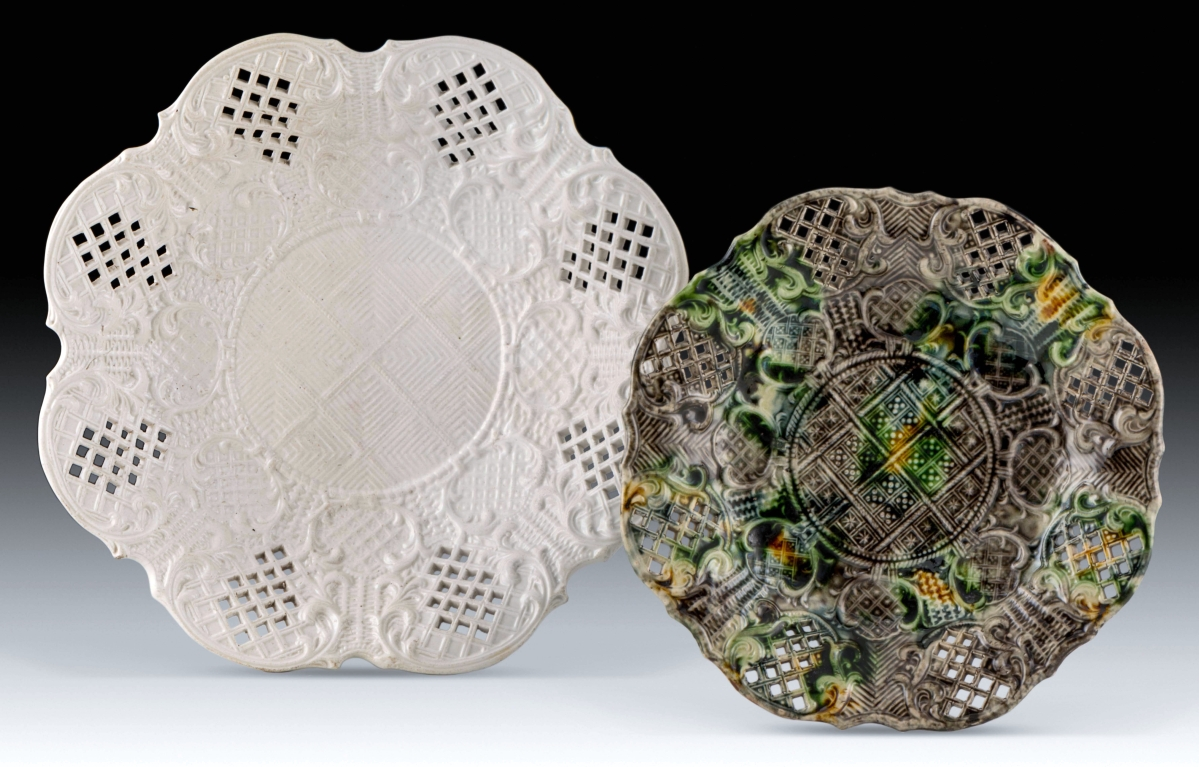 Fruit dishes, Staffordshire, England, circa 1760-70; salt-glazed stoneware, left and tortoiseshell-colored lead-glazed earthenware. Respectively, gift funds from Dr and Mrs Gary Russollilo (Petrina) and gift of Harry H. Coon. All images courtesy Colonial Williamsburg Foundation.