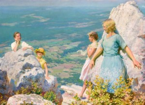 """""""Blue and Gold"""" by Charles Courtney Curran (1861–1942), 1929, oil on canvas mounted on board, 30 by 40 inches, $50,400 ($40/60,000)."""