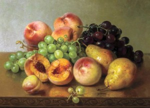 """""""Still Life with Peaches, Pears and Grapes"""" by Robert Spear Dunning (1829–1905), 1891, oil on canvas, 13 by 17 inches, $45,600 ($25/35,000)."""