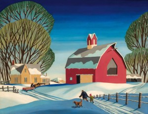 """""""Sunset on the Farm"""" by Dale Nichols (1904–1995), oil on canvas, 24 by 30 inches, $66,000 ($50/75,000)."""