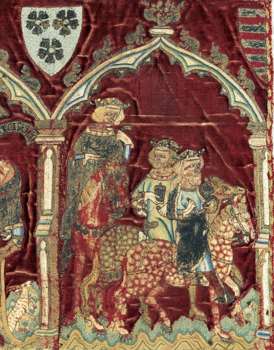 """The Life of The Virgin,"" detail from an embroidery, possibly for an alb or liturgical vestment, 1320–40. Silk velvet, embroidered with silver-gilt, silver and silk thread. Victoria and Albert Museum, London"