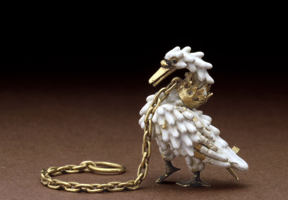 "Dating to circa 1400, the ""Dunstable Swan Jewel"" was probably made in France and was found in 1965 at Dunstable Friary in Bedfordshire. It was worn as a brooch or as a necklace. The British Museum, London"