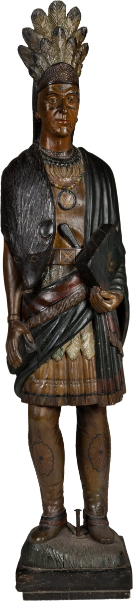 A handcarved American tobacconist cigar store Indian, in the manner of Julius Mechers, was the subject of frenzied bidding sending it to $150,000.