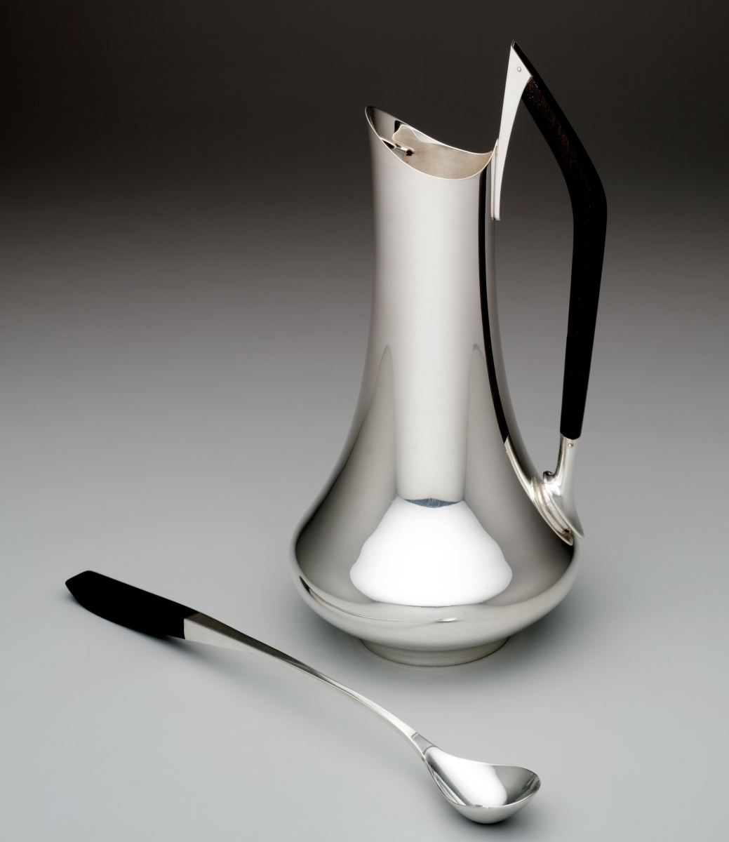 """Circa '70"" pitcher-mixer with mixer spoon, Gorham Manufacturing Company, manufacturer, Providence, R.I., designed 1960. Silver and ebony."