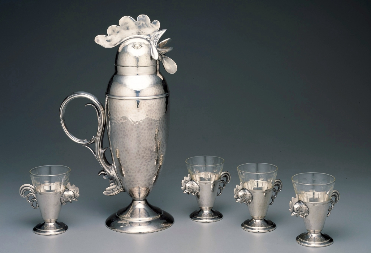 Cocktail shaker and cups, Wallace Brothers Silver Company, manufacturer, Bridgeport, Conn., 1928. Silverplate and glass.