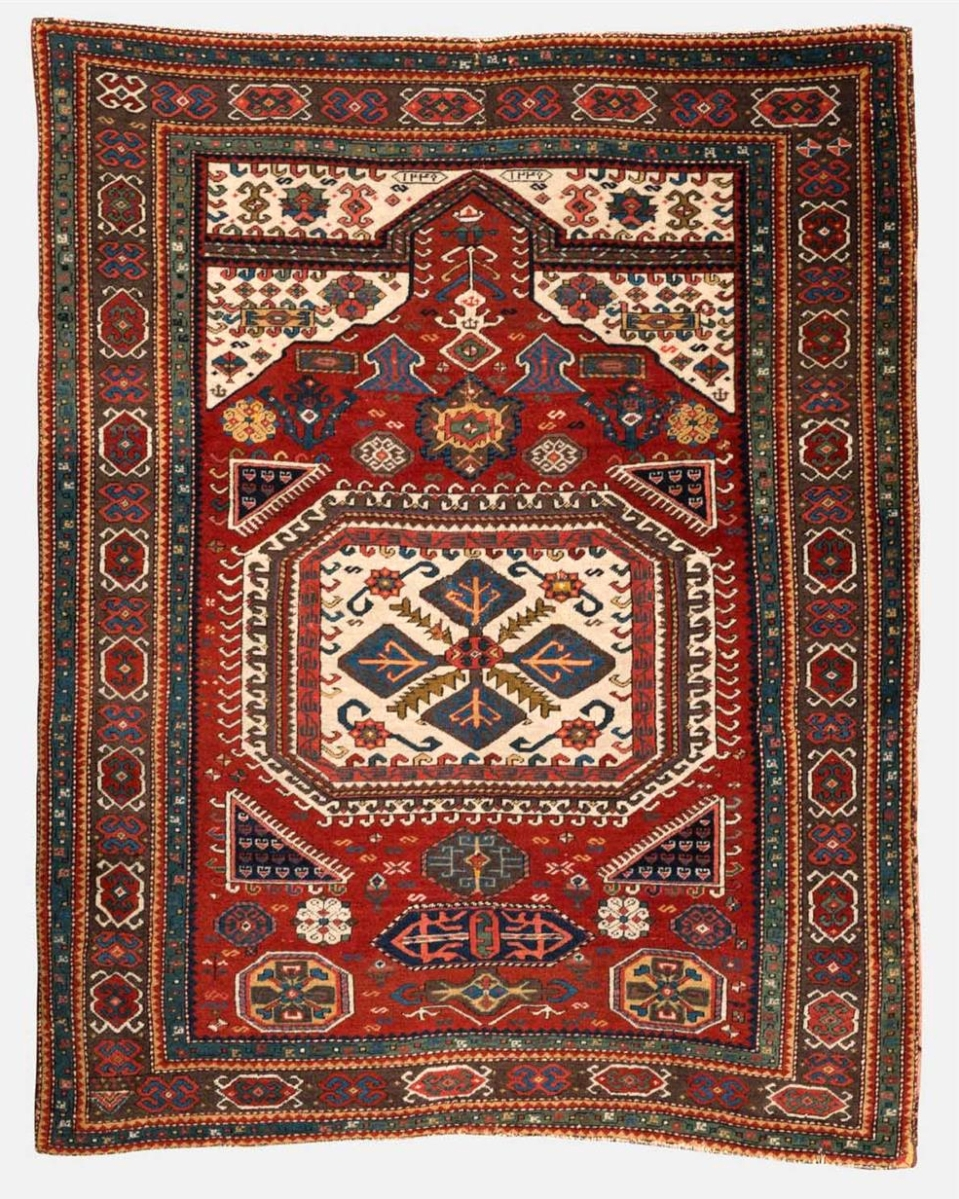 Three phone bidders competed for this prayer rug dated in Arabic AH1247, (1821 in the Gregorian calendar) and one stayed with it, paying $51,850, the second highest price of the sale.