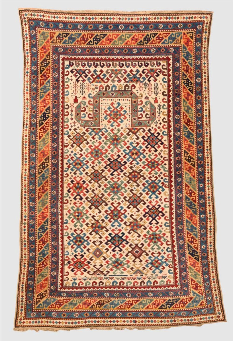 The highest priced rug of the Rudnick collection was this fine Kuba prayer rug, dated in Arabic 1225 (1810). It earned $61,000. It sold to Boston's Museum of Fine Arts.