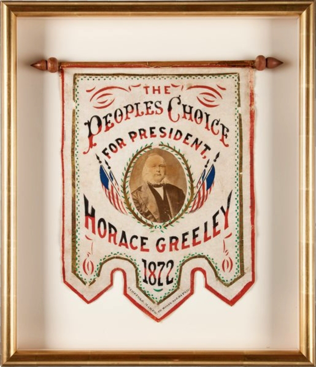 A red, white and blue Horace Greeley 1872 presidential campaign banner with albumen photo and gold-leaf trim in a shadow box brought $40,000.