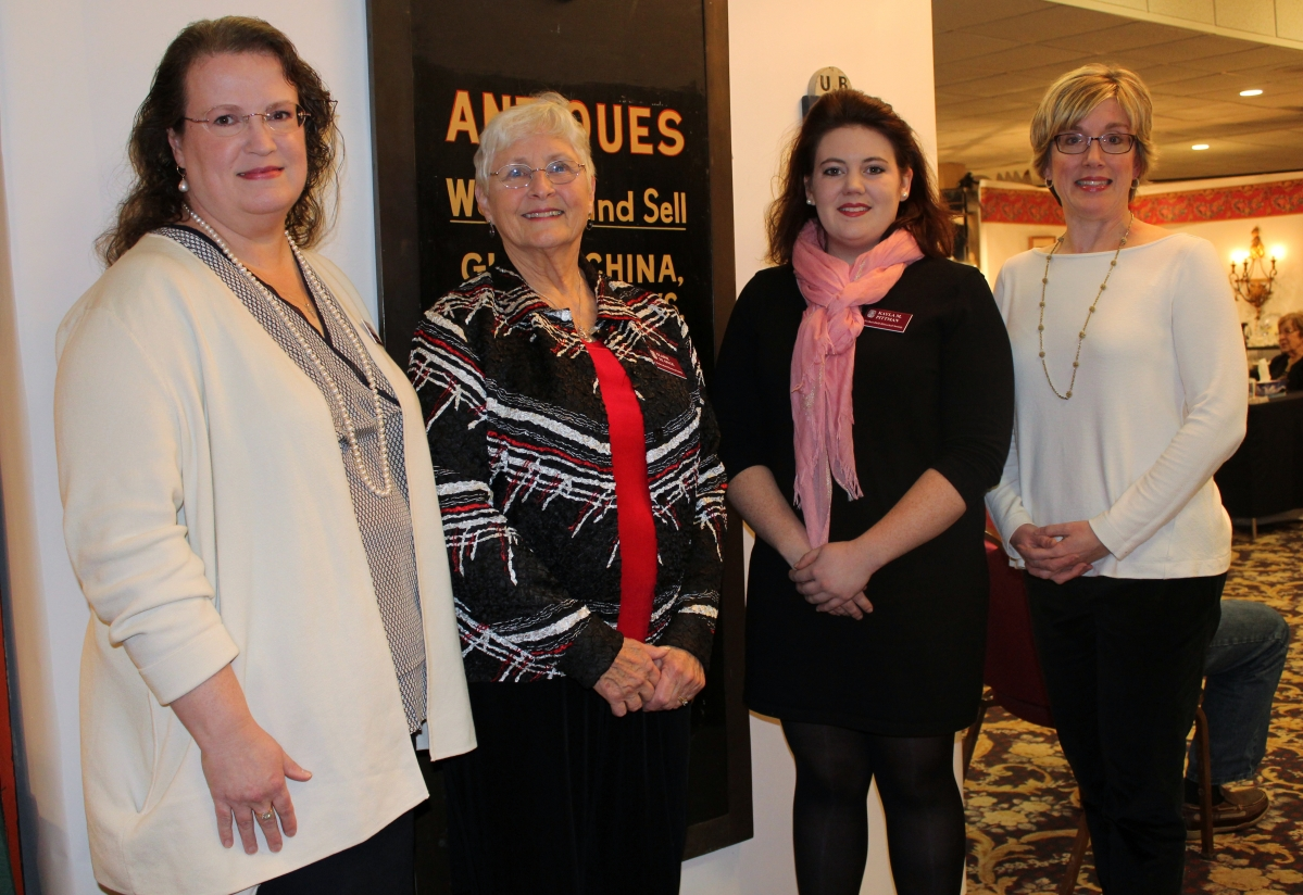 Welcoming guests to the 16th annual Wethersfield Antiques Show were, from left, Amy Northrop Wittorff, Wethersfield Historical Society executive director; Elaine St Onge, show manager; Kayla Pittman, the society's curator; and Beth Thompson, program coordinator.