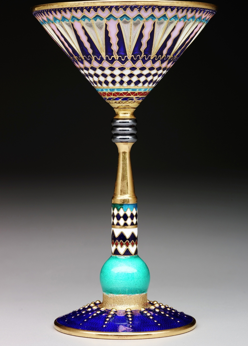 Martini glass designed by Valeri Timofeev, circa 2001. Silver gilt, plique-à-jour enamel, enamel and unidentified hardstone.