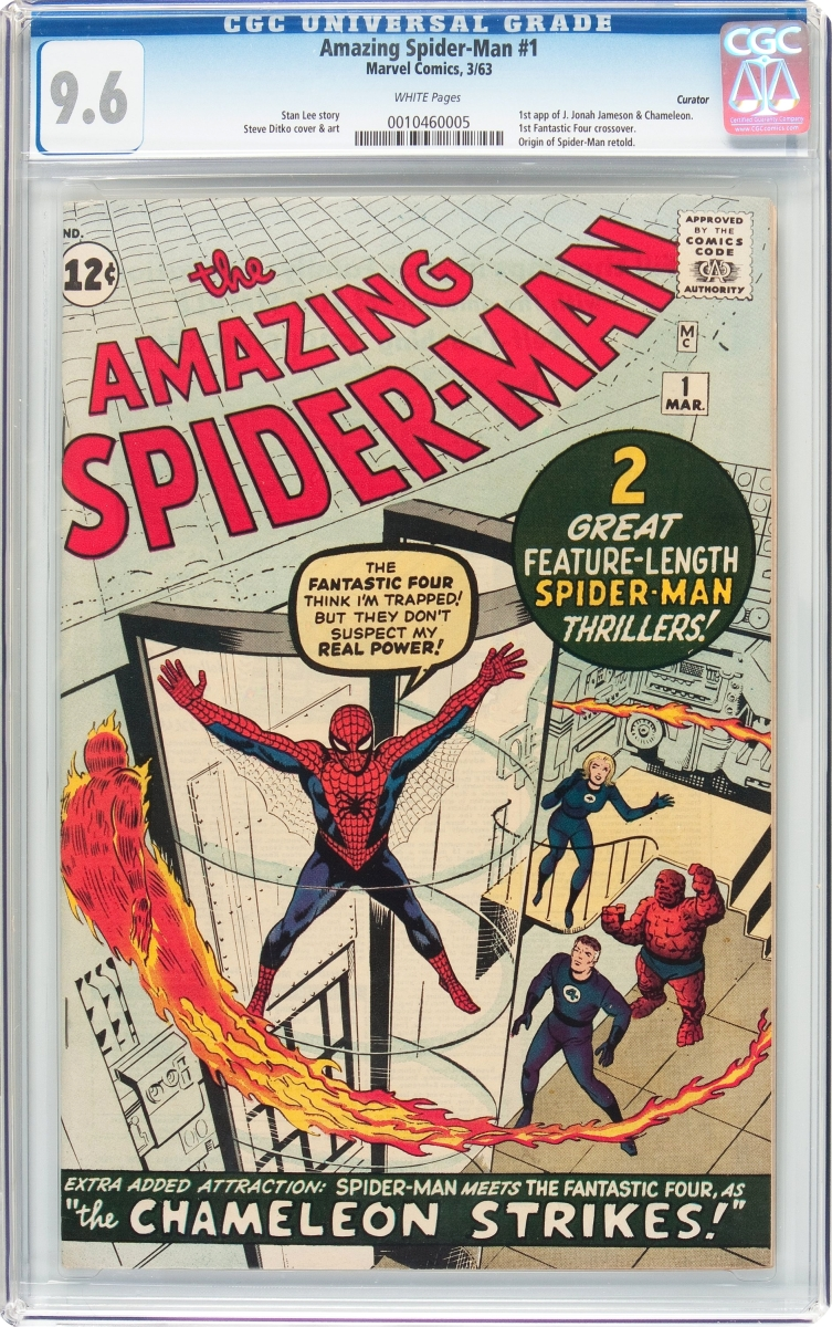 The Amazing Spider-Man #1 curator pedigree (Marvel, 1963), which is one of the top Silver Age comics Heritage has sold in 15 years, sold for $262,900.