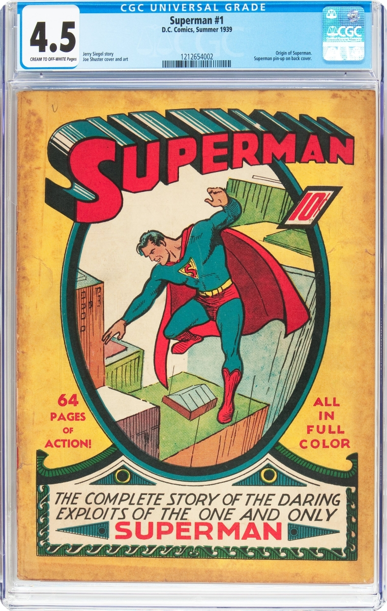 The top lot was a rare unrestored copy of Superman #1 (DC, 1939), which sold for $358,500.