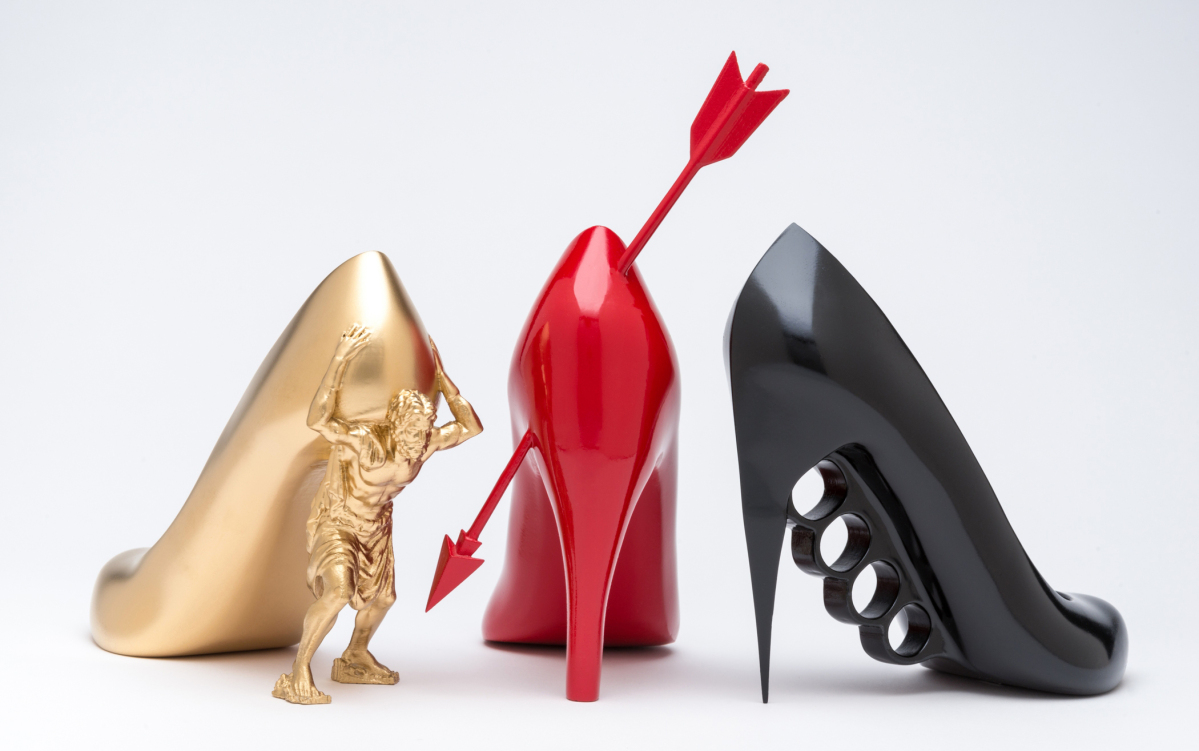 """The Golddigger,"" ""The Heartbreaker"" and ""The Boss"" by Sebastian Errazuriz, from the ""12 Shoes for 12 Lovers"" collection, 2013. 3D-printed acrylonitrile-butadiene-styrene polymer, resin and acrylic. Peabody Essex Museum —Kathy Tarantola photo"