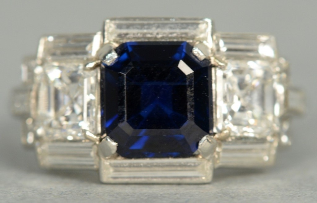 Another fine Cartier Art Deco piece sold was this sapphire and diamond ring, with an Asscher cut sapphire flanked by baguette diamonds. The diamonds had a total weight of 1.2 carats and was signed Cartier on the shank edge; it brought $22,500.