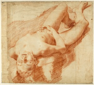 "Annibale Carracci (Italian, 1560–1609), ""Nude Study of a Young Man Lying on his Back,"" circa 1583–85, red chalk. Nationalmuseum, Stockholm."