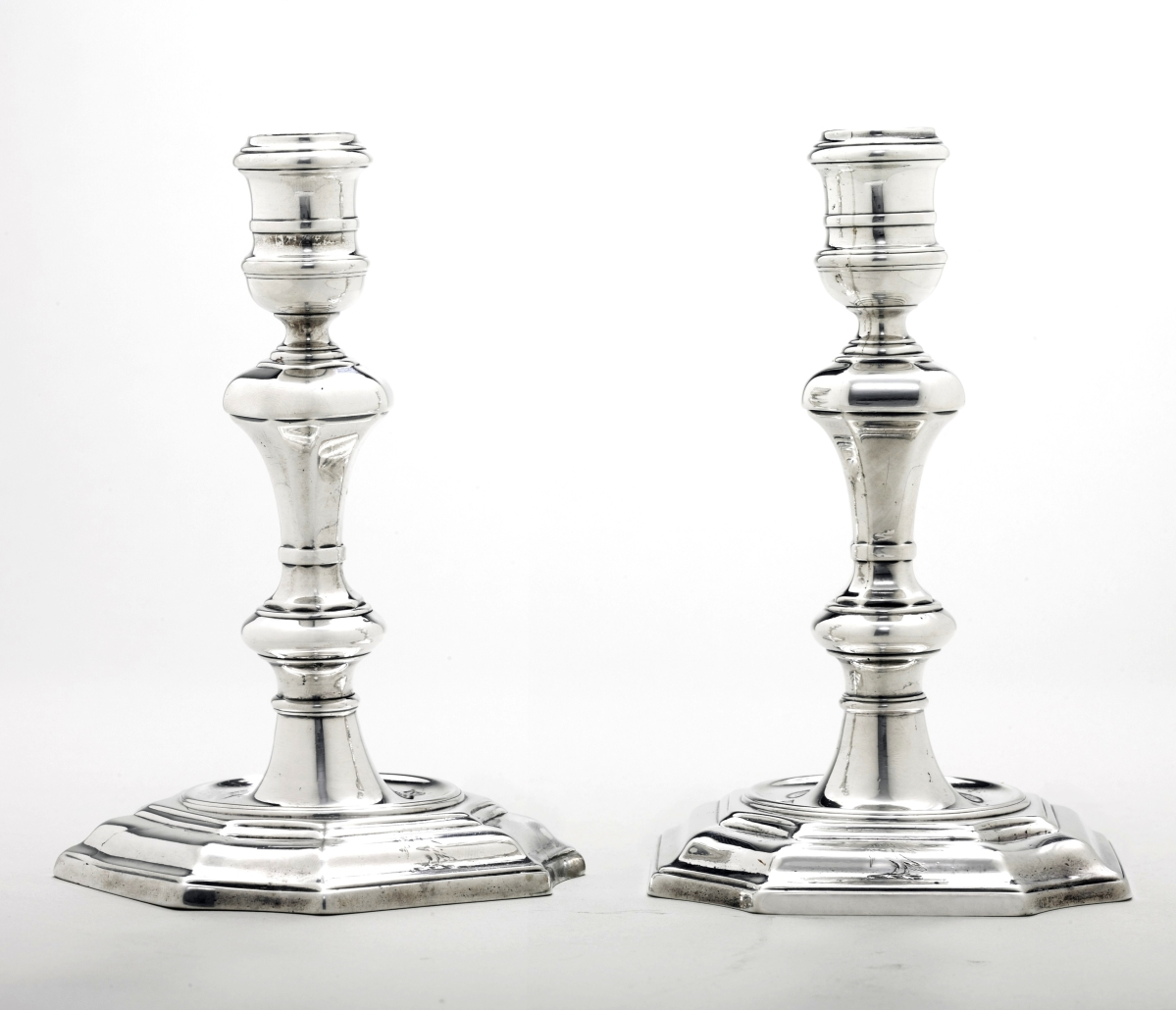 American silver at Christie's on January 20 includes, from the Wunsch collection, this rare pair of circa 1750 candlesticks by New York silversmith Simeon Soumaine.