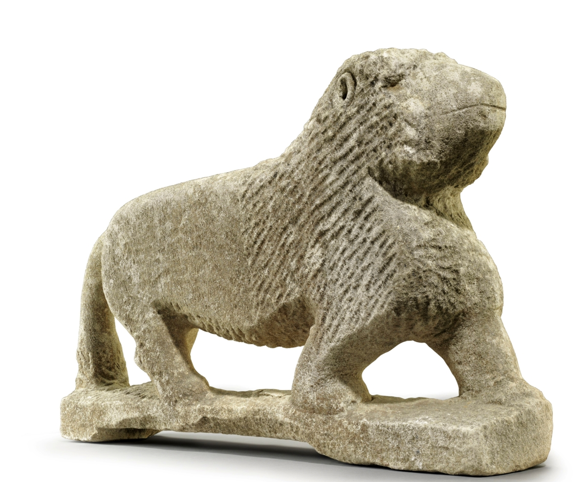 A carved limestone lion by William Edmondson heads Christie's January 20 sale of Outsider and vernacular art.