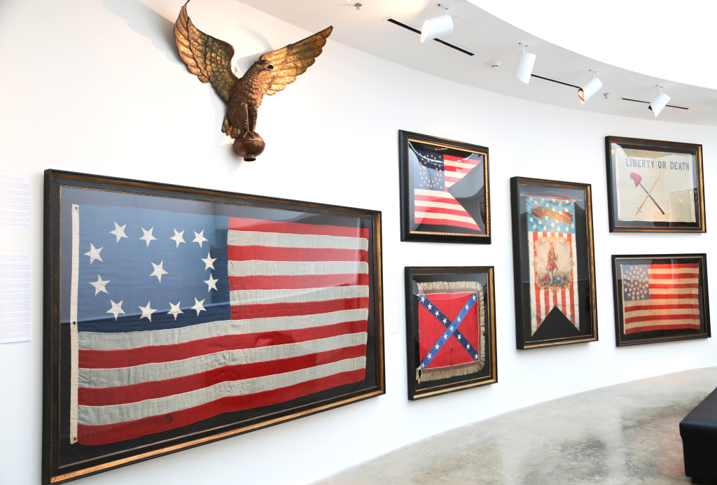 Jeff R. Bridgman's monumental flags decorated the hallway on the third floor.